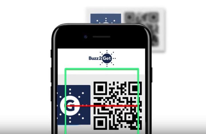 An image of an iPhone scanning a Buzz2Get Quick Response (QR) code